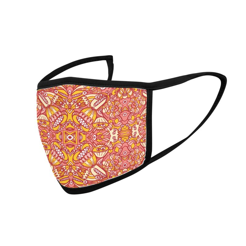 Red and yellow pattern design full of weird fantastic creatures Accessories Face Mask by Zoo&co's Artist Shop