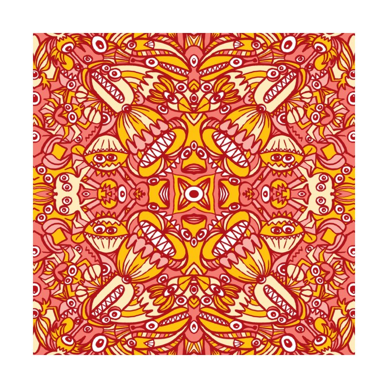 Red and yellow pattern design full of weird fantastic creatures Women's Zip-Up Hoody by Zoo&co's Artist Shop