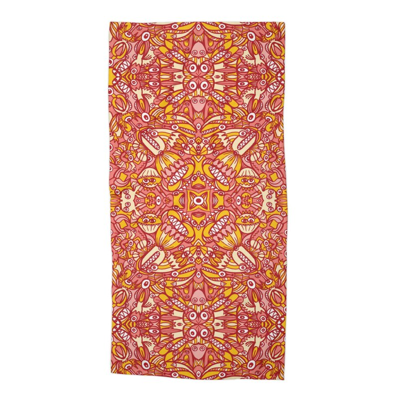 Red and yellow pattern design full of weird fantastic creatures Accessories Beach Towel by Zoo&co's Artist Shop