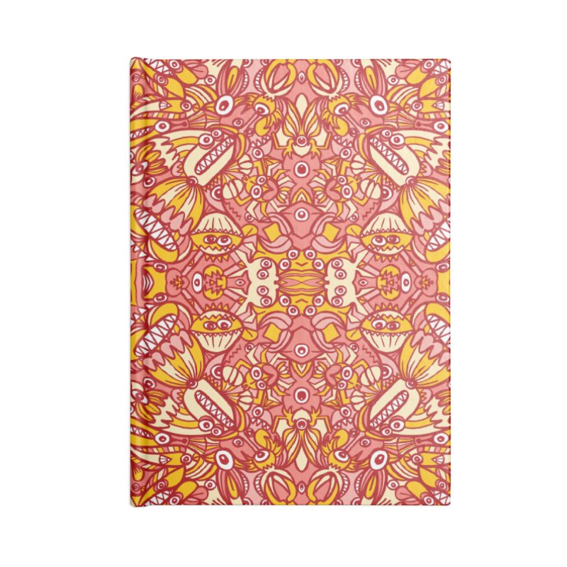 Red and yellow pattern design full of weird fantastic creatures Accessories Notebook by Zoo&co's Artist Shop