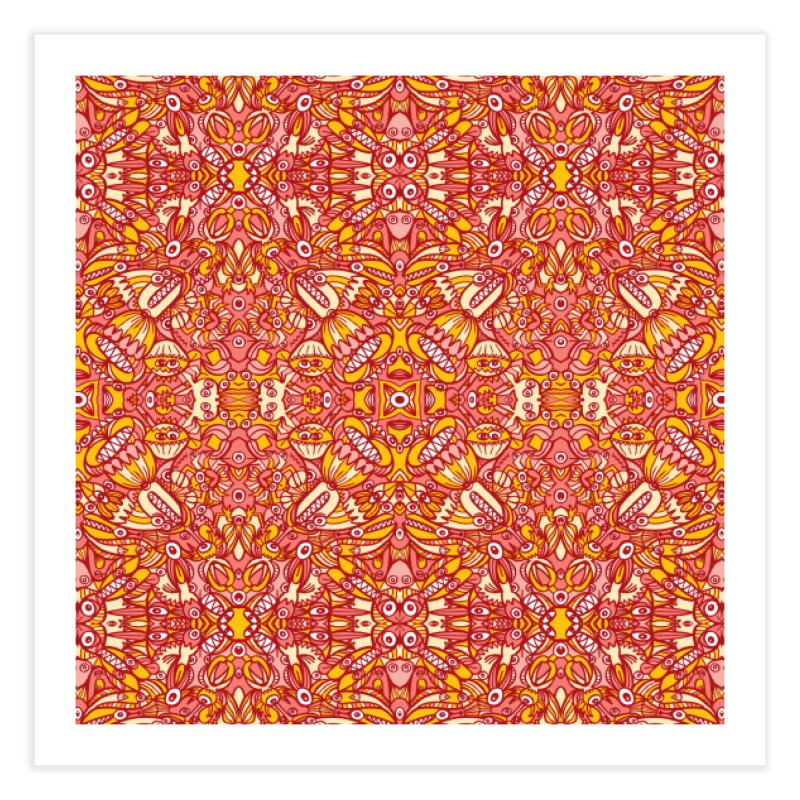 Red and yellow pattern design full of weird fantastic creatures Home Fine Art Print by Zoo&co's Artist Shop
