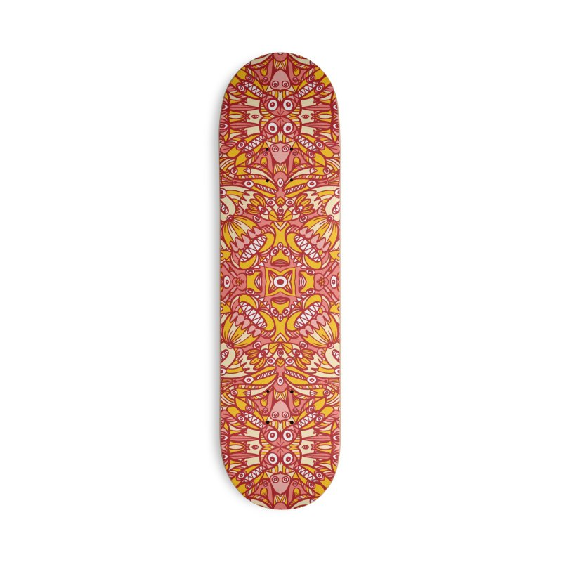 Red and yellow pattern design full of weird fantastic creatures Accessories Skateboard by Zoo&co's Artist Shop
