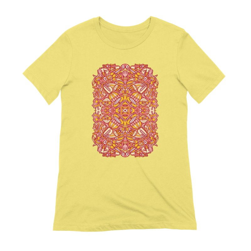 Red and yellow pattern design full of weird fantastic creatures Women's T-Shirt by Zoo&co's Artist Shop