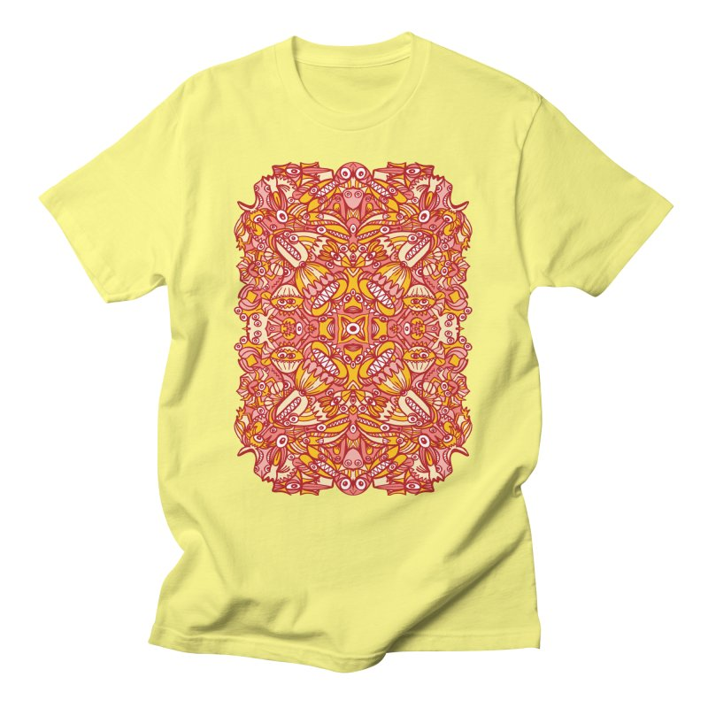 Red and yellow pattern design full of weird fantastic creatures Men's T-Shirt by Zoo&co's Artist Shop