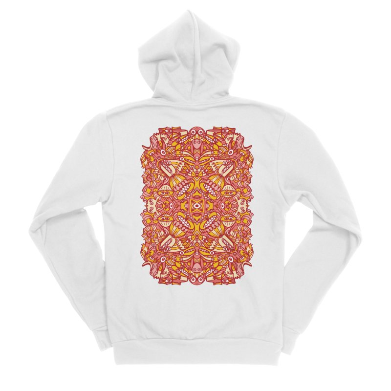 Red and yellow pattern design full of weird fantastic creatures Men's Zip-Up Hoody by Zoo&co's Artist Shop