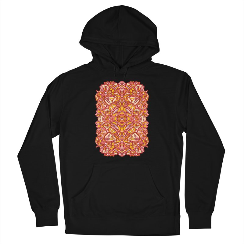 Red and yellow pattern design full of weird fantastic creatures Women's Pullover Hoody by Zoo&co's Artist Shop