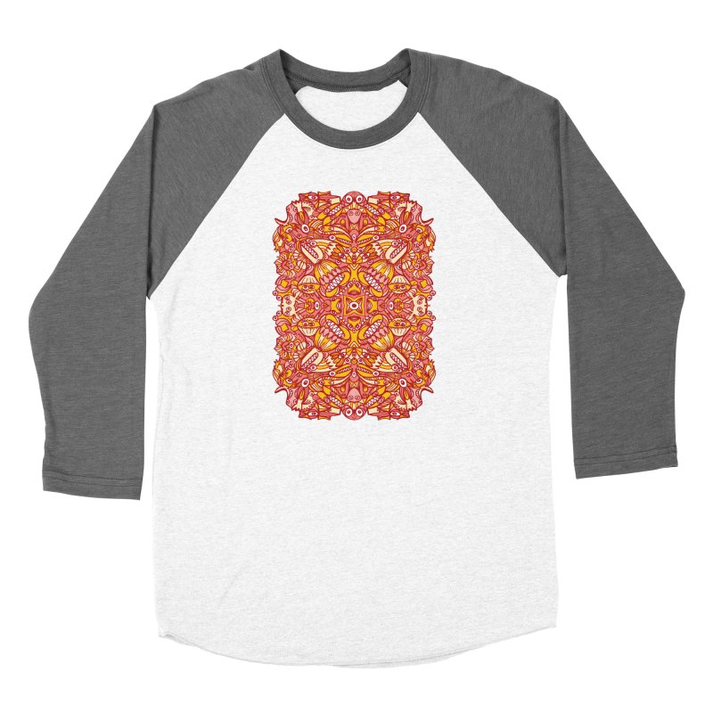 Red and yellow pattern design full of weird fantastic creatures Women's Longsleeve T-Shirt by Zoo&co's Artist Shop