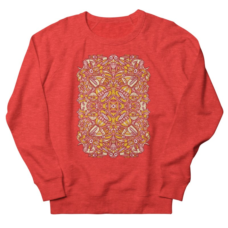 Red and yellow pattern design full of weird fantastic creatures Women's Sweatshirt by Zoo&co's Artist Shop