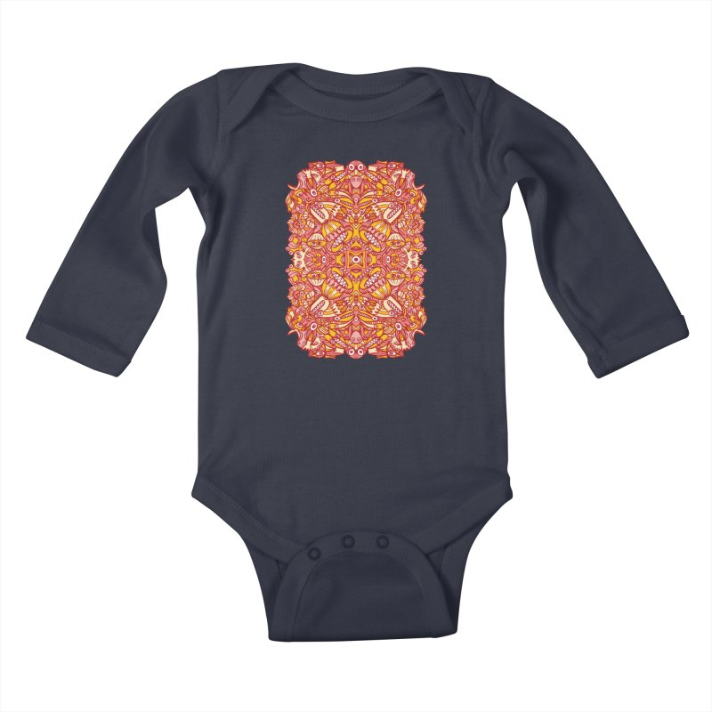 Red and yellow pattern design full of weird fantastic creatures Kids Baby Longsleeve Bodysuit by Zoo&co's Artist Shop