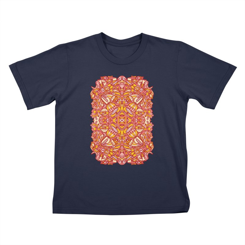 Red and yellow pattern design full of weird fantastic creatures Kids T-Shirt by Zoo&co's Artist Shop