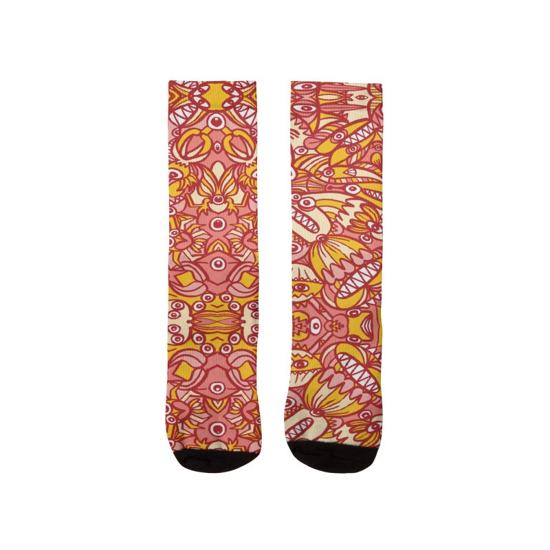 Red and yellow pattern design full of weird fantastic creatures Women's Socks by Zoo&co's Artist Shop