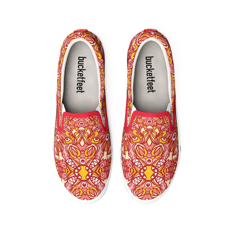 Red and yellow pattern design full of weird fantastic creatures Women's Shoes by Zoo&co's Artist Shop