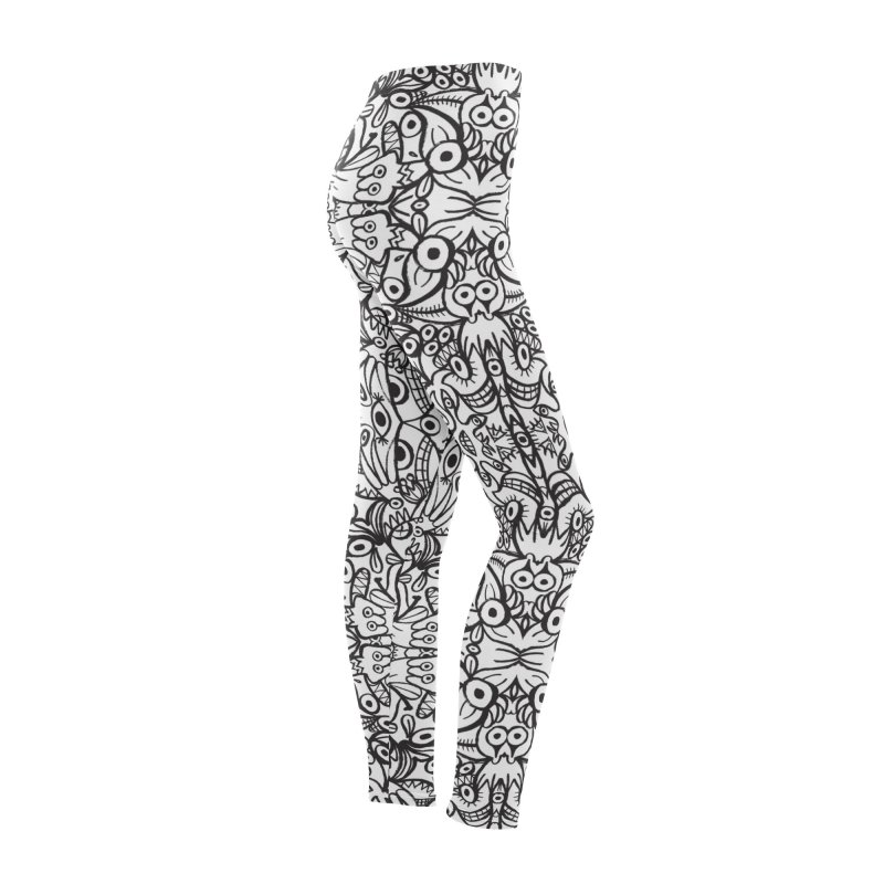 Brushstrokes of doodle art creatures forming a crazy pattern design Women's Bottoms by Zoo&co's Artist Shop