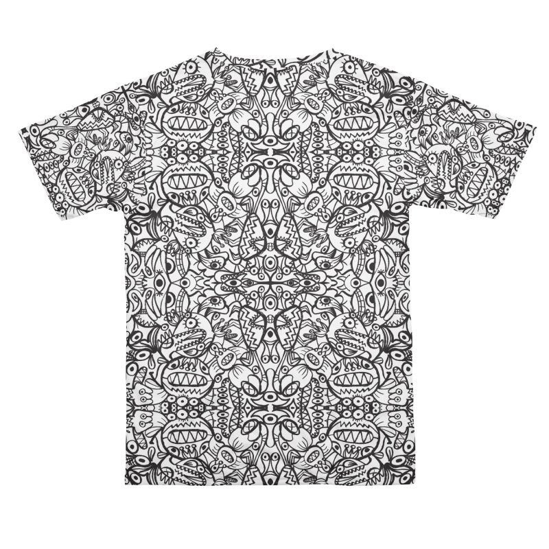 Brushstrokes of doodle art creatures forming a crazy pattern design Women's Cut & Sew by Zoo&co's Artist Shop