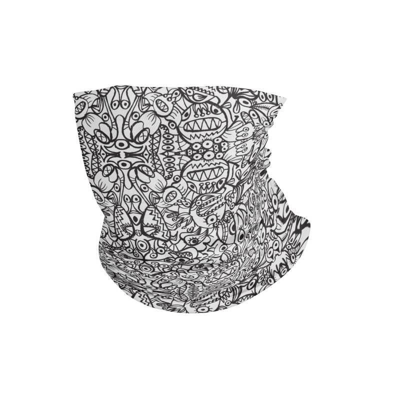 Brushstrokes of doodle art creatures forming a crazy pattern design Accessories Neck Gaiter by Zoo&co's Artist Shop