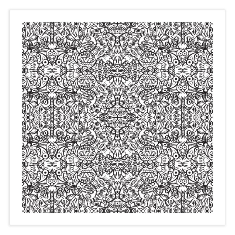 Brushstrokes of doodle art creatures forming a crazy pattern design Home Fine Art Print by Zoo&co's Artist Shop