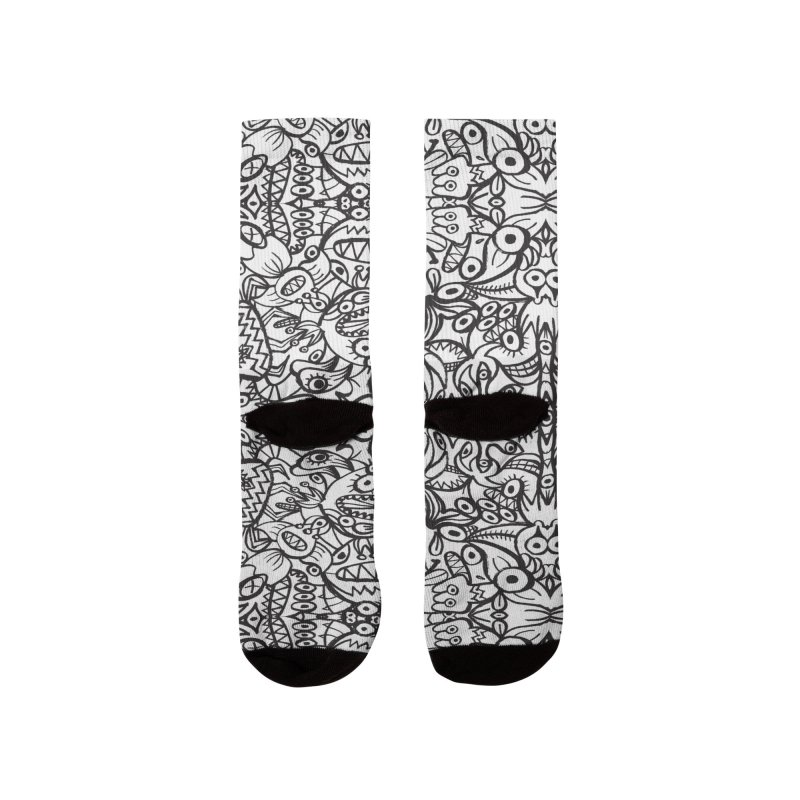 Brushstrokes of doodle art creatures forming a crazy pattern design Women's Socks by Zoo&co's Artist Shop