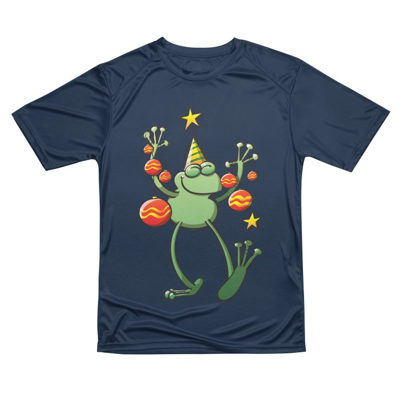 Smiling green frog decorating for Christmas Men's T-Shirt by Zoo&co's Artist Shop