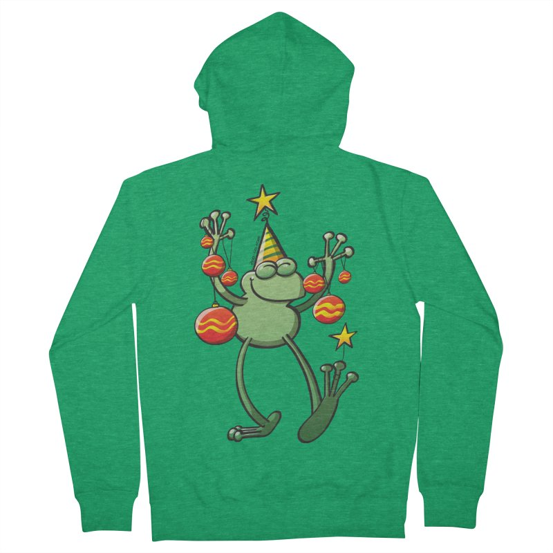 Smiling green frog decorating for Christmas Women's Zip-Up Hoody by Zoo&co's Artist Shop