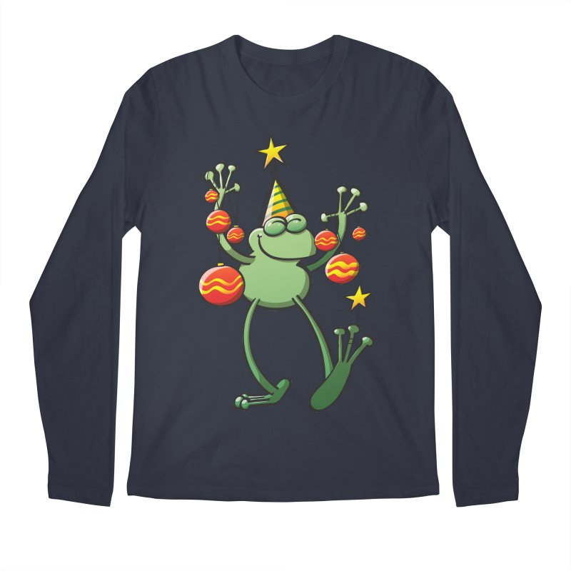 Smiling green frog decorating for Christmas Men's Longsleeve T-Shirt by Zoo&co's Artist Shop