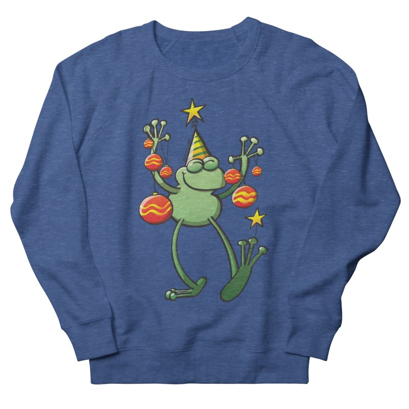 Smiling green frog decorating for Christmas Men's Sweatshirt by Zoo&co's Artist Shop
