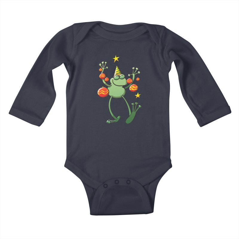 Smiling green frog decorating for Christmas Kids Baby Longsleeve Bodysuit by Zoo&co's Artist Shop