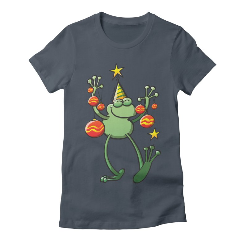 Smiling green frog decorating for Christmas Women's T-Shirt by Zoo&co's Artist Shop