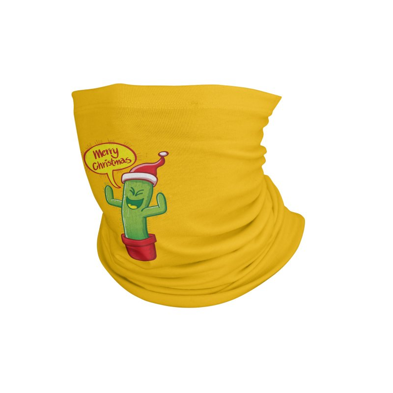 Mischievous green cactus wearing Santa hat and celebrating Christmas with great joy! Accessories Neck Gaiter by Zoo&co's Artist Shop