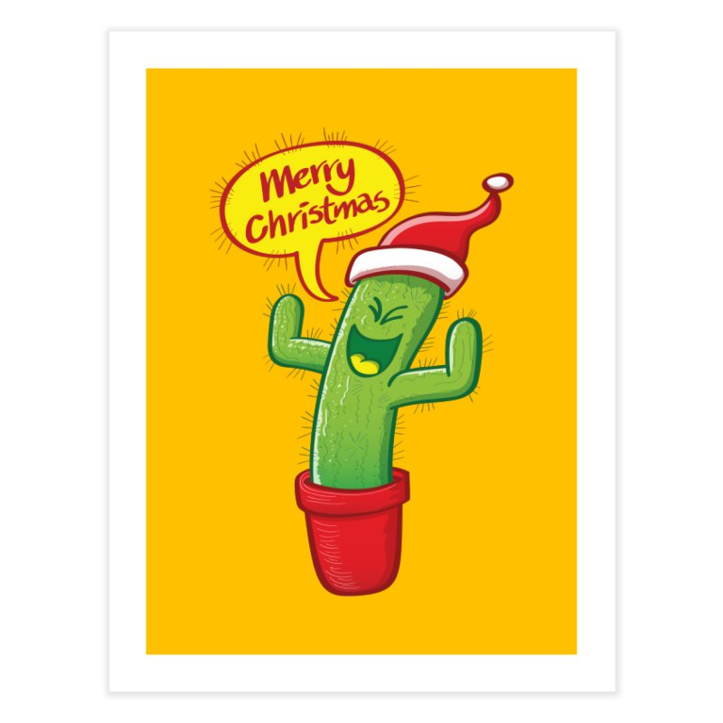 Mischievous green cactus wearing Santa hat and celebrating Christmas with great joy! Home Fine Art Print by Zoo&co's Artist Shop