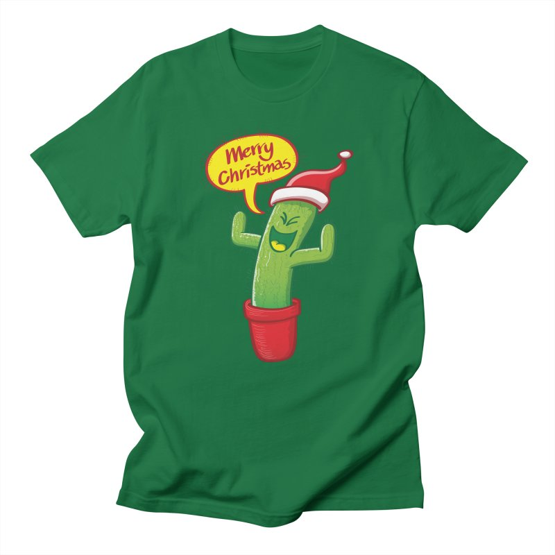 Mischievous green cactus wearing Santa hat and celebrating Christmas with great joy! Men's T-Shirt by Zoo&co's Artist Shop
