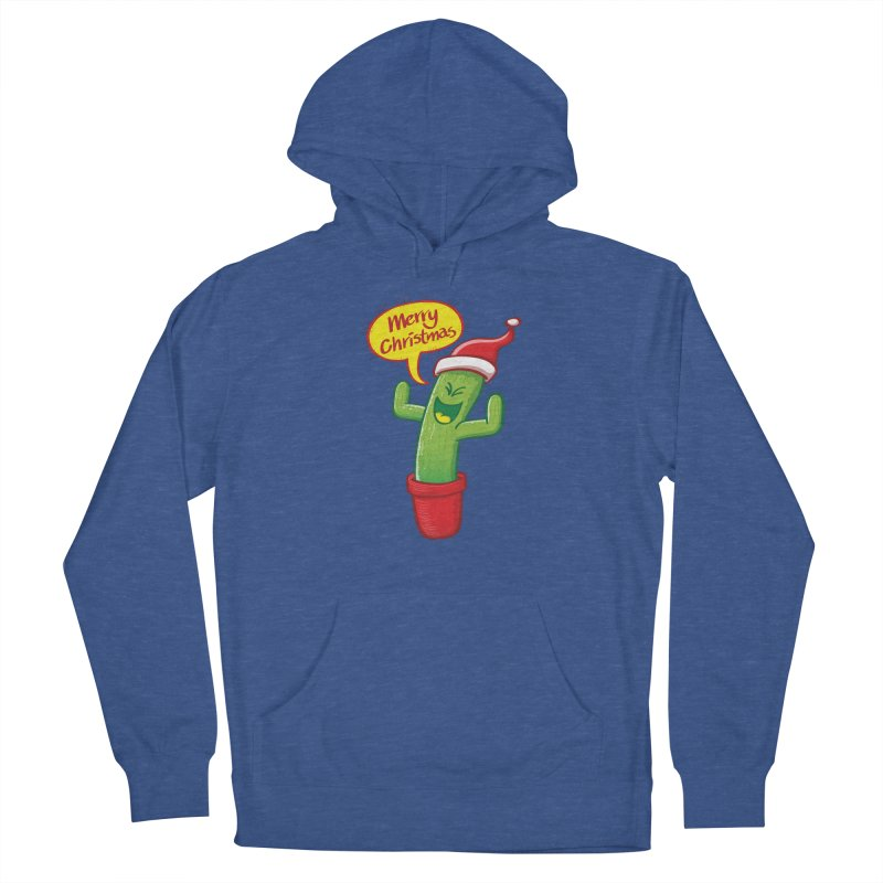 Mischievous green cactus wearing Santa hat and celebrating Christmas with great joy! Women's Pullover Hoody by Zoo&co's Artist Shop