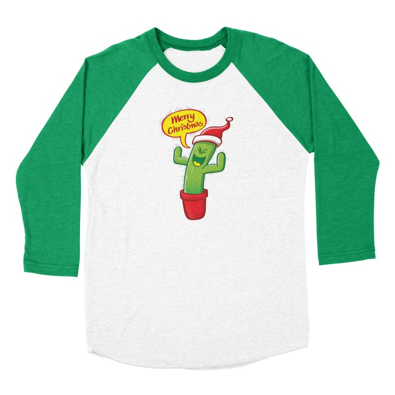 Mischievous green cactus wearing Santa hat and celebrating Christmas with great joy! Women's Longsleeve T-Shirt by Zoo&co's Artist Shop