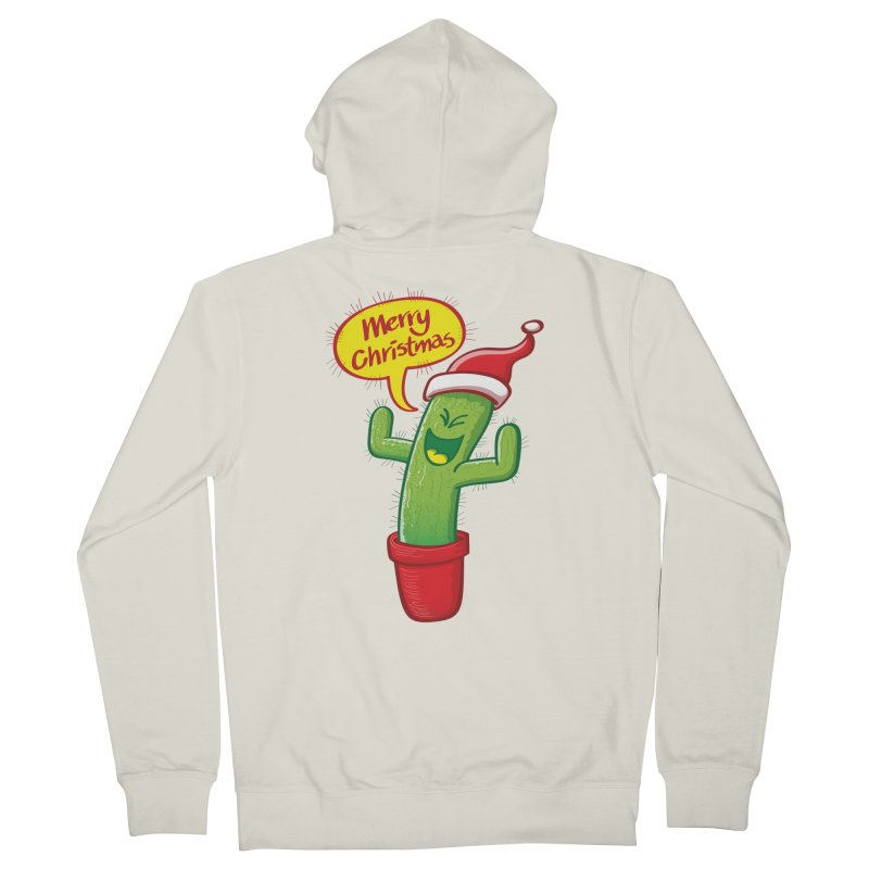 Mischievous green cactus wearing Santa hat and celebrating Christmas with great joy! Women's Zip-Up Hoody by Zoo&co's Artist Shop