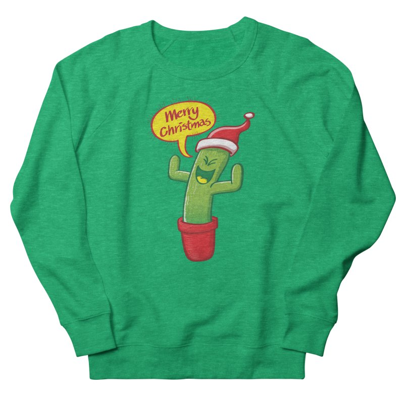 Mischievous green cactus wearing Santa hat and celebrating Christmas with great joy! Women's Sweatshirt by Zoo&co's Artist Shop
