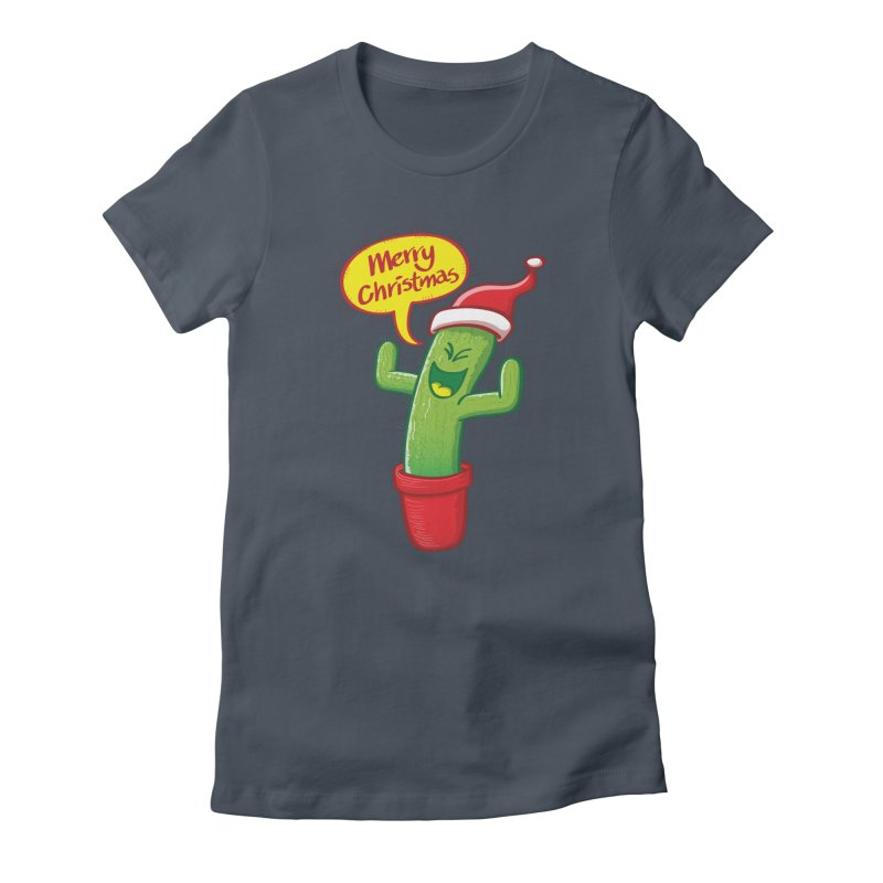 Mischievous green cactus wearing Santa hat and celebrating Christmas with great joy! Women's T-Shirt by Zoo&co's Artist Shop