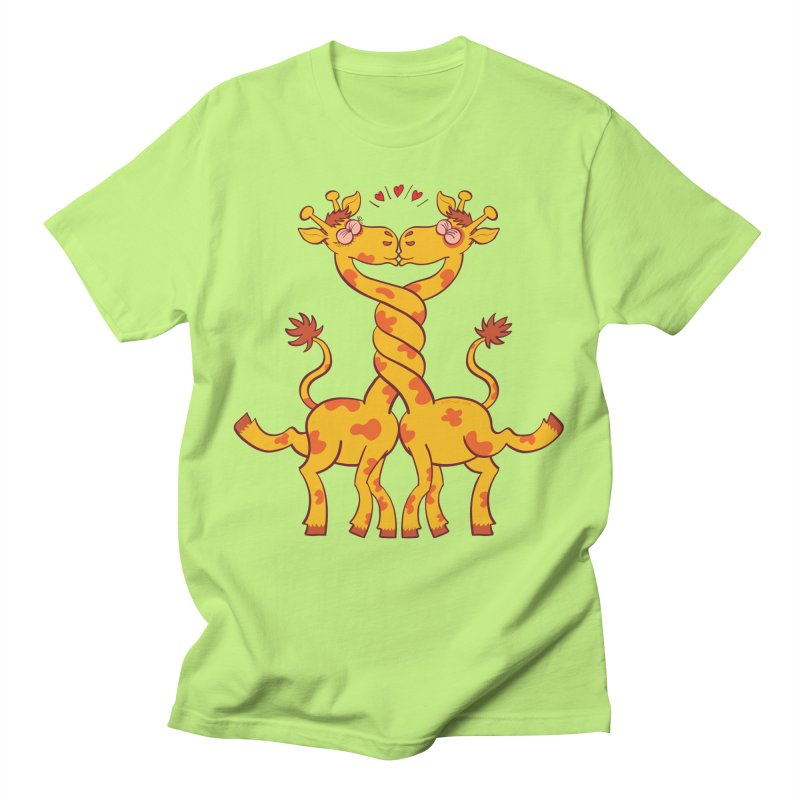 Sweet couple of giraffes in love intertwining necks and kissing Men's T-Shirt by Zoo&co's Artist Shop