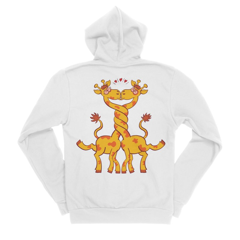 Sweet couple of giraffes in love intertwining necks and kissing Men's Zip-Up Hoody by Zoo&co's Artist Shop