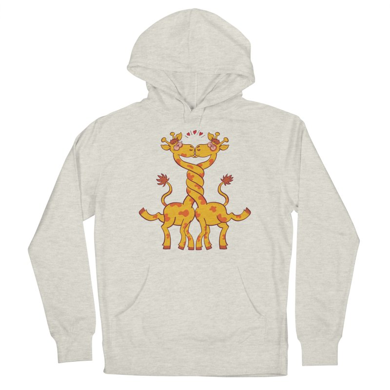 Sweet couple of giraffes in love intertwining necks and kissing Men's Pullover Hoody by Zoo&co's Artist Shop
