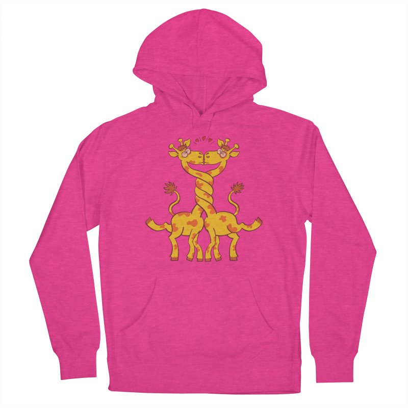 Sweet couple of giraffes in love intertwining necks and kissing Women's Pullover Hoody by Zoo&co's Artist Shop