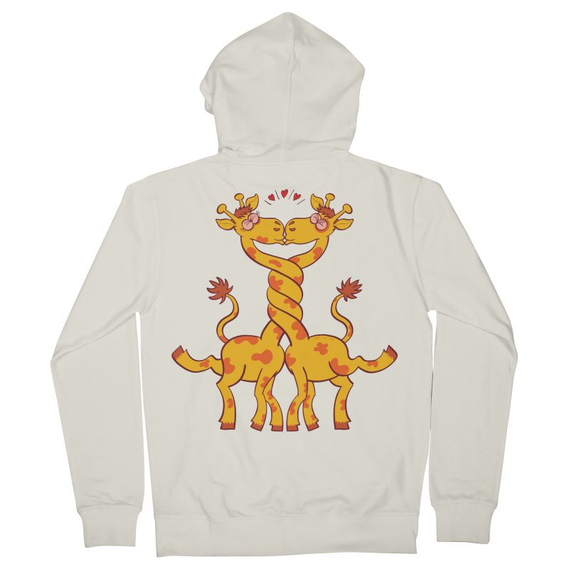 Sweet couple of giraffes in love intertwining necks and kissing Women's Zip-Up Hoody by Zoo&co's Artist Shop