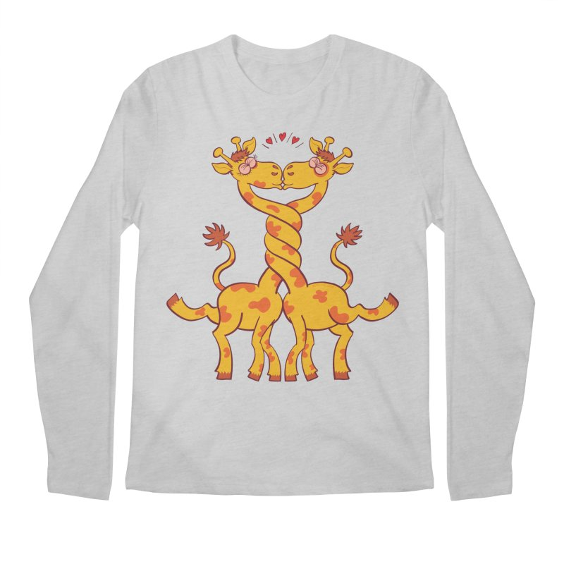 Sweet couple of giraffes in love intertwining necks and kissing Men's Longsleeve T-Shirt by Zoo&co's Artist Shop