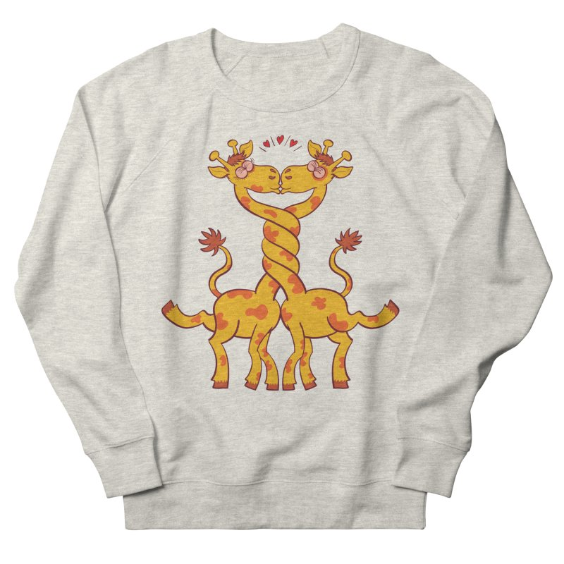 Sweet couple of giraffes in love intertwining necks and kissing Men's Sweatshirt by Zoo&co's Artist Shop
