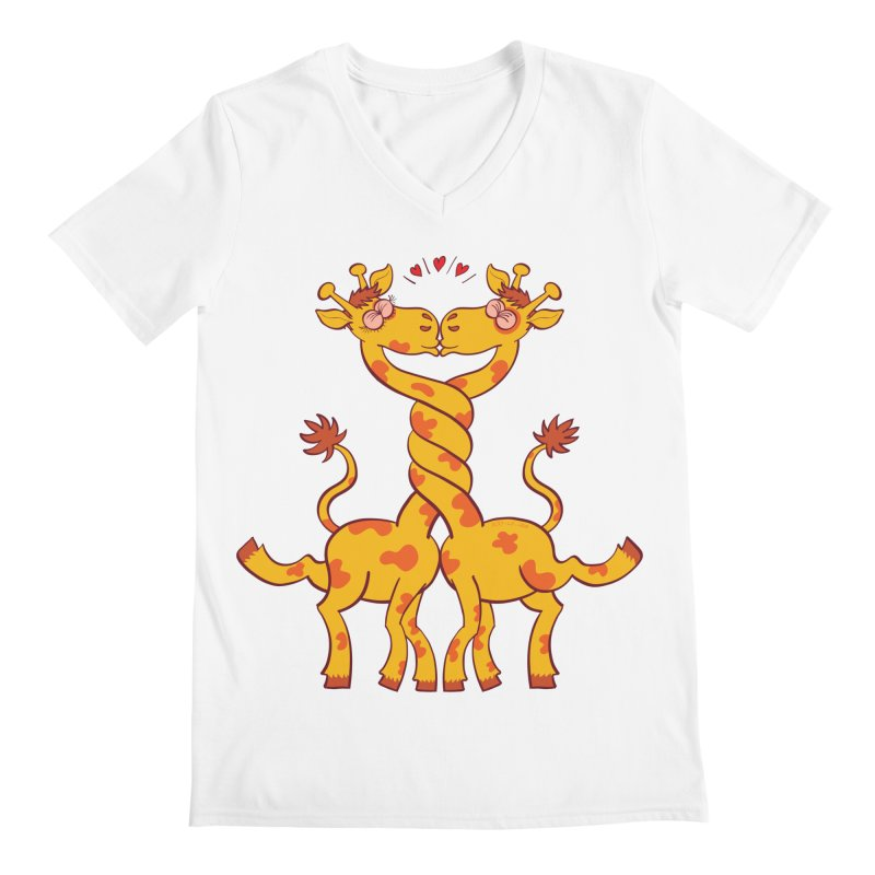 Sweet couple of giraffes in love intertwining necks and kissing Men's V-Neck by Zoo&co's Artist Shop