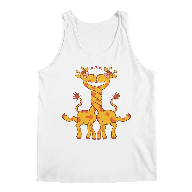 Sweet couple of giraffes in love intertwining necks and kissing Men's Tank by Zoo&co's Artist Shop