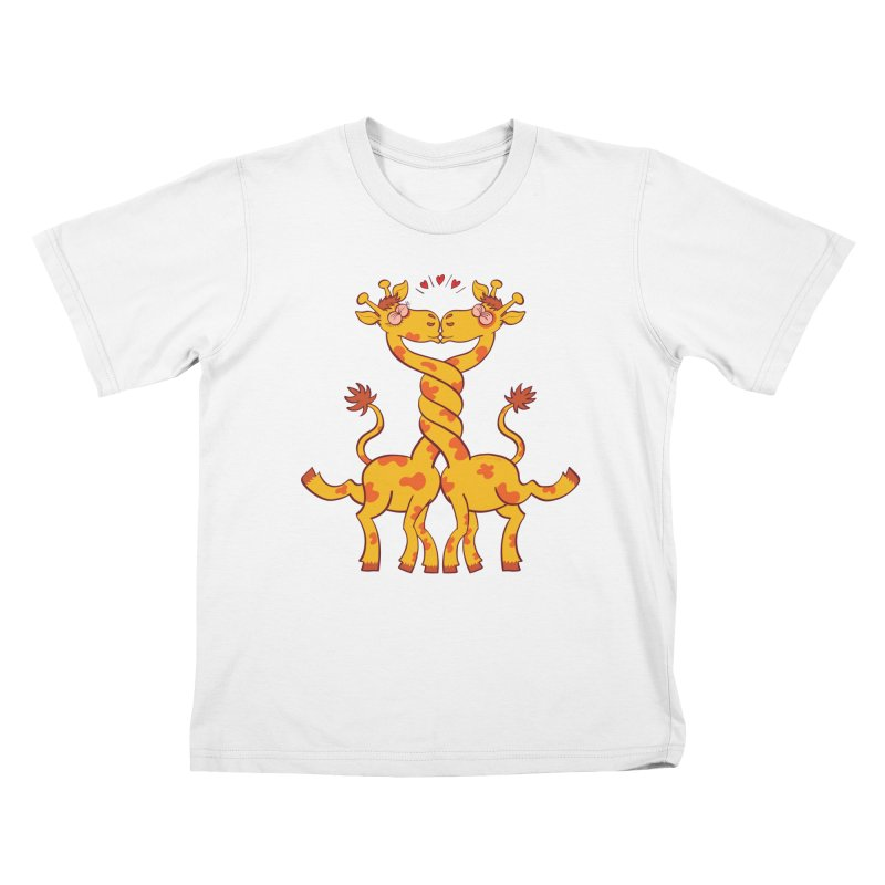 Sweet couple of giraffes in love intertwining necks and kissing Kids T-Shirt by Zoo&co's Artist Shop