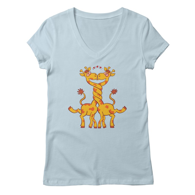 Sweet couple of giraffes in love intertwining necks and kissing Women's V-Neck by Zoo&co's Artist Shop