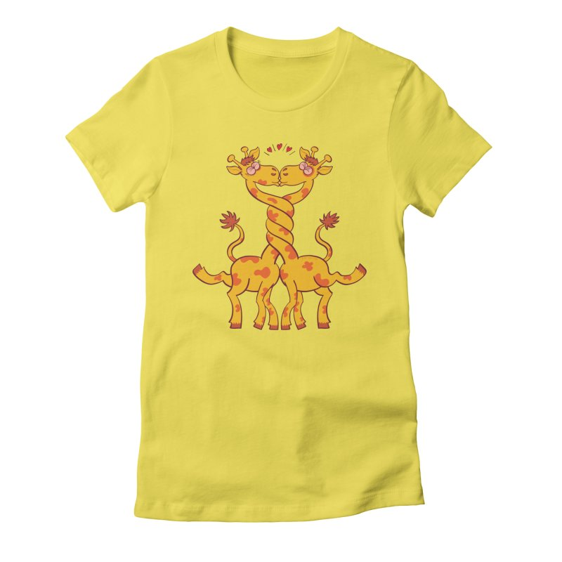 Sweet couple of giraffes in love intertwining necks and kissing Women's T-Shirt by Zoo&co's Artist Shop