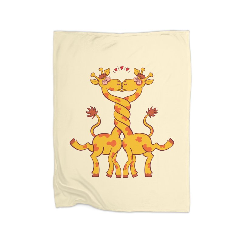 Sweet couple of giraffes in love intertwining necks and kissing Home Blanket by Zoo&co's Artist Shop
