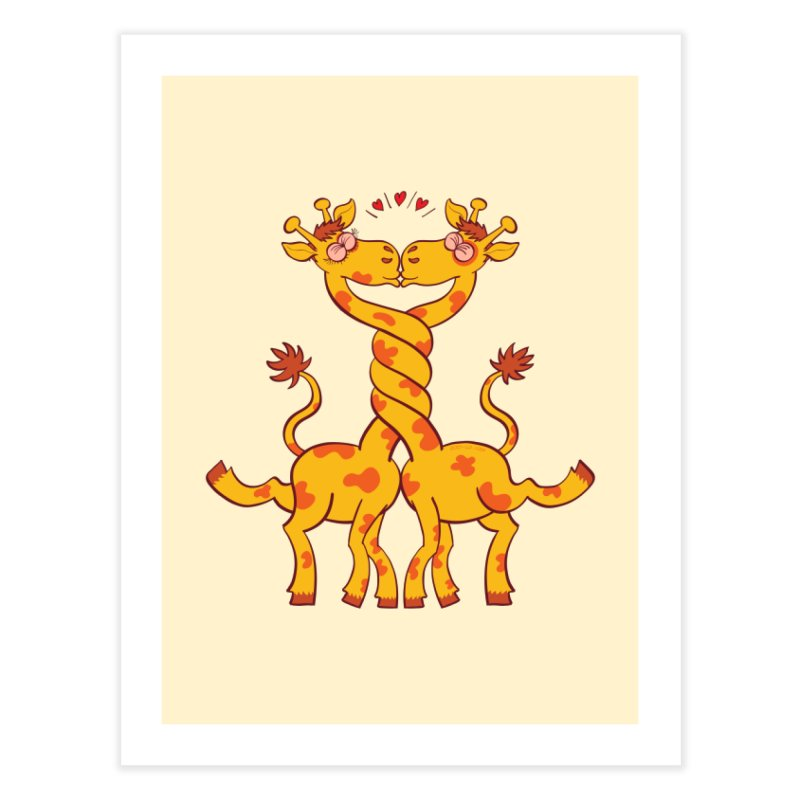 Sweet couple of giraffes in love intertwining necks and kissing Home Fine Art Print by Zoo&co's Artist Shop