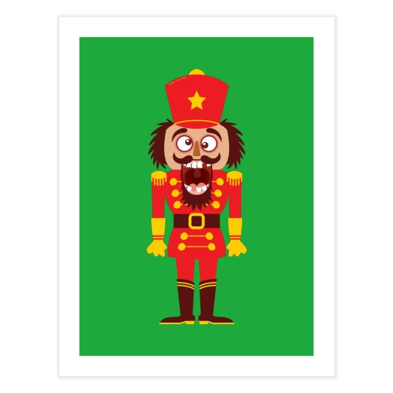 A Christmas nutcracker breaks its teeth and goes nuts Home Fine Art Print by Zoo&co's Artist Shop